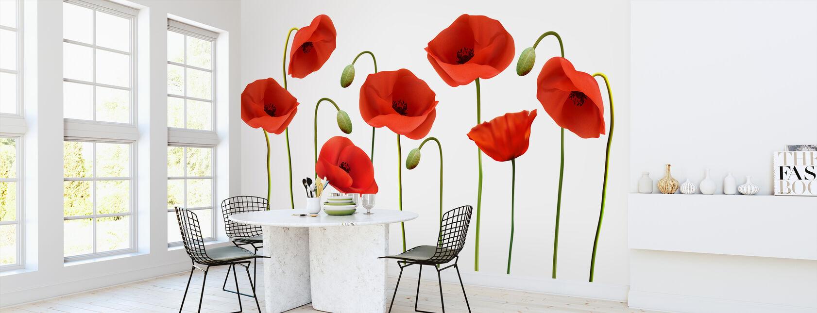 Rode klaprozen - Behang - Keuken