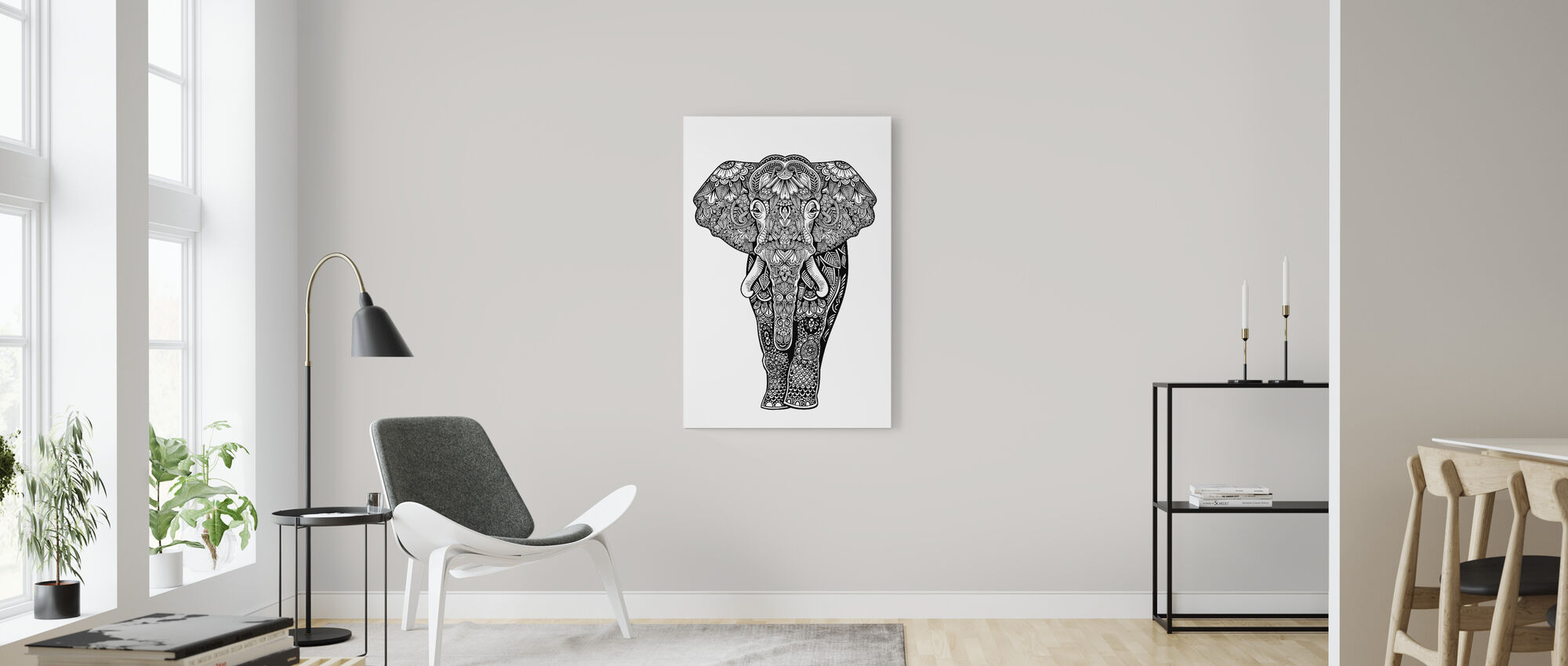 Henna-olifant - Canvas print - Woonkamer