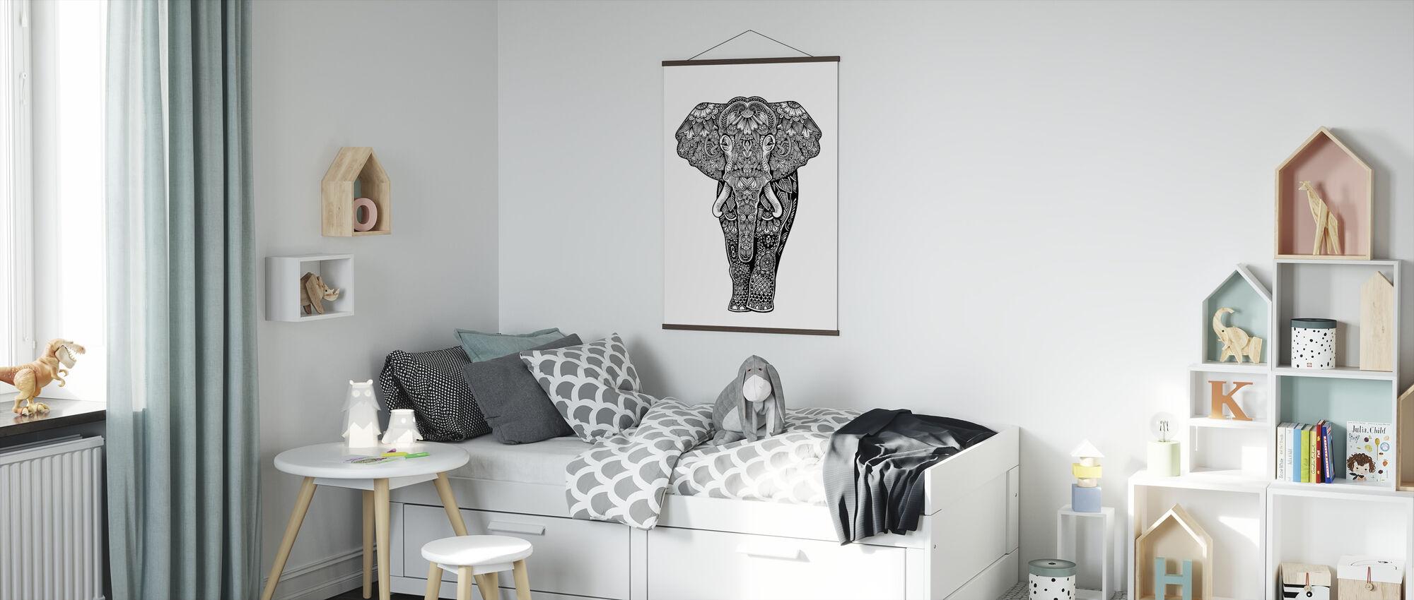 Henna Elephant - Poster - Kids Room