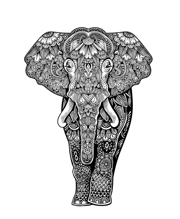 Henna Elephant Designer Canvas Print Photowall