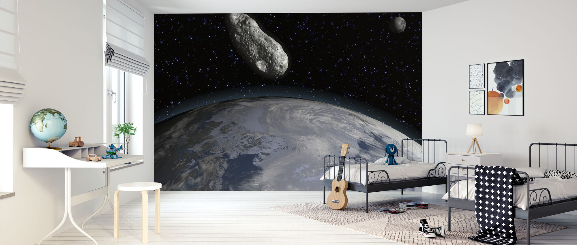 Asteroid and Planet Earth - Wallpaper - Kids Room