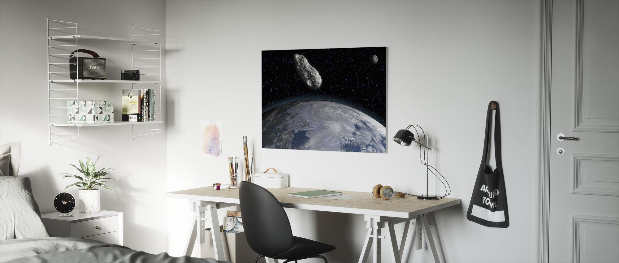 Asteroïde en Planeet Aarde - Canvas print - Kinderkamer