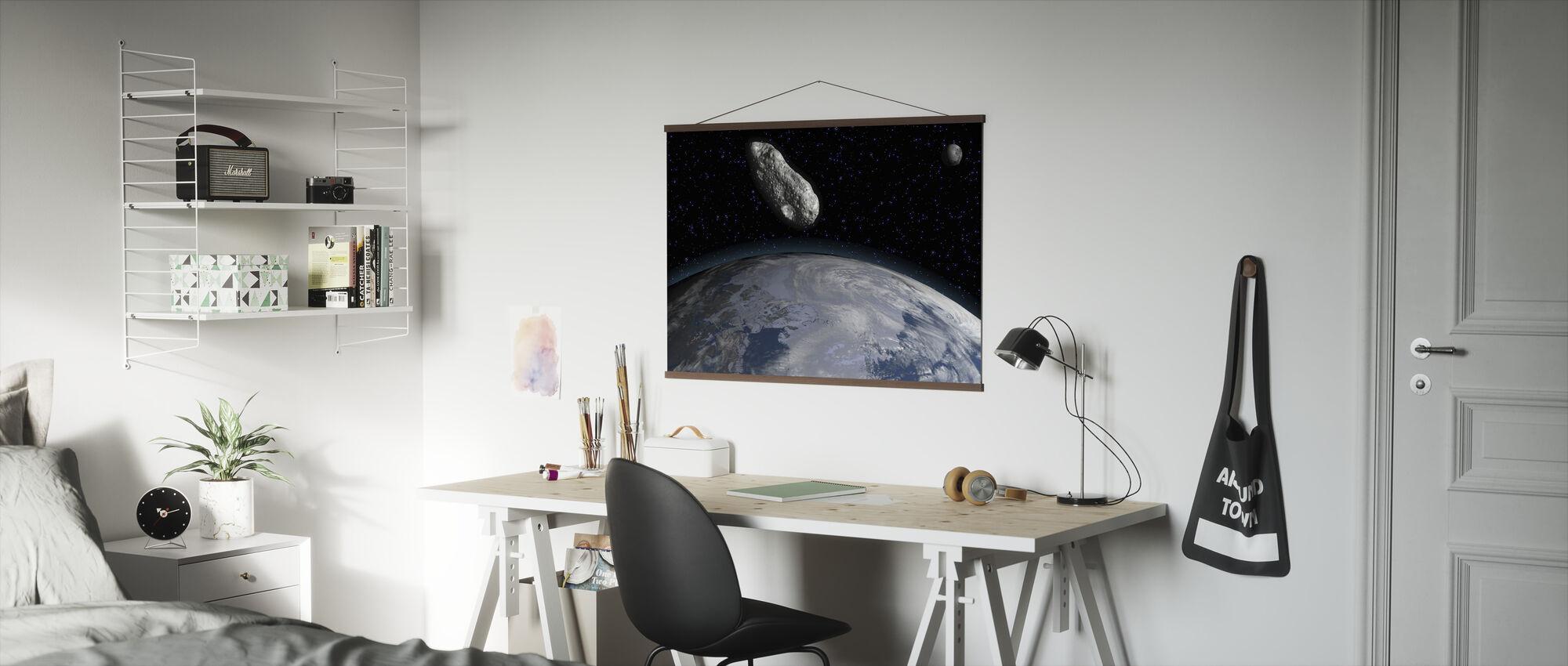 Asteroïde en Planeet Aarde - Poster - Kantoor