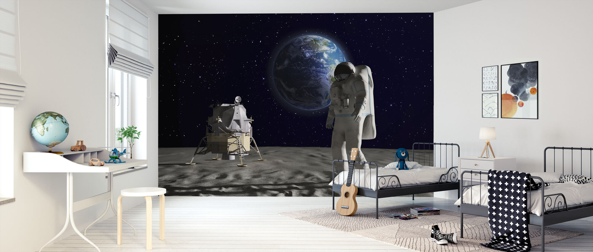 Astronaut on the Moon 2 - Wallpaper - Kids Room