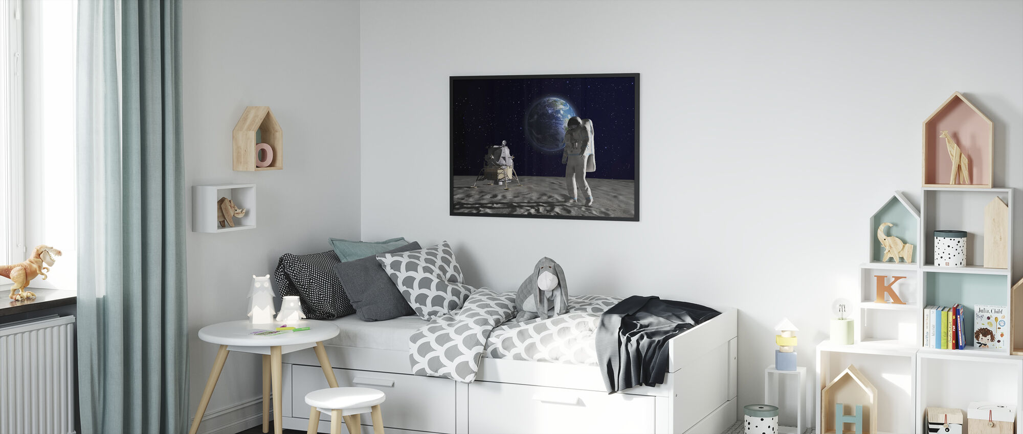 Astronaut on the Moon 2 - Framed print - Kids Room