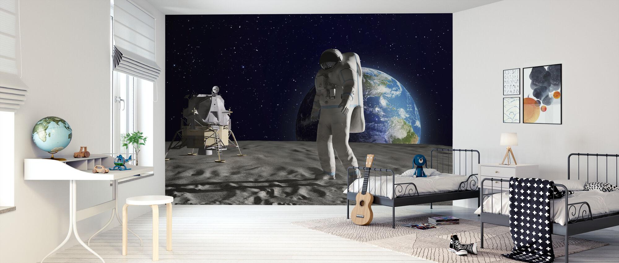 Astronaut on the Moon - Wallpaper - Kids Room
