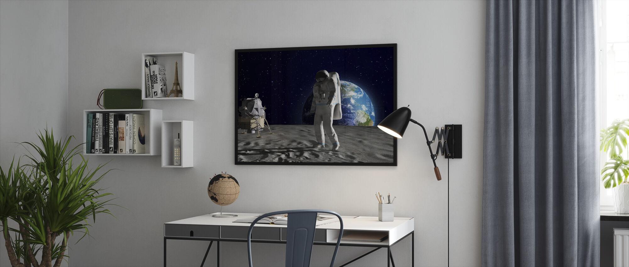 Astronaut on the Moon - Framed print - Office
