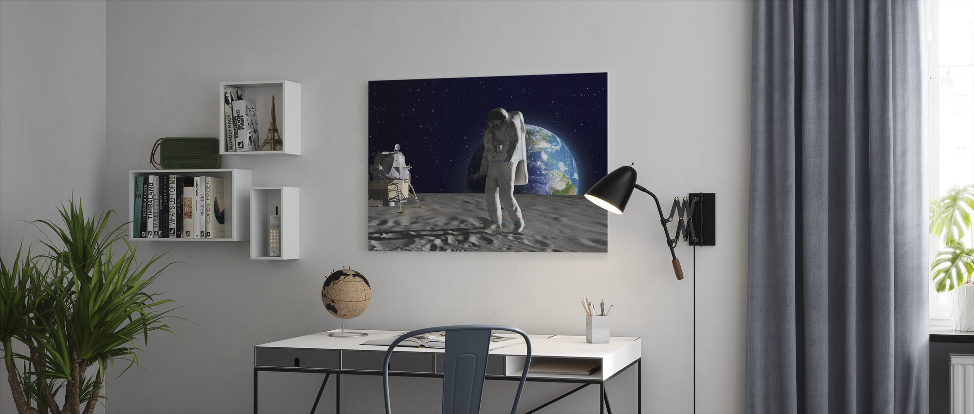 Astronaut on the Moon - Canvas print - Office