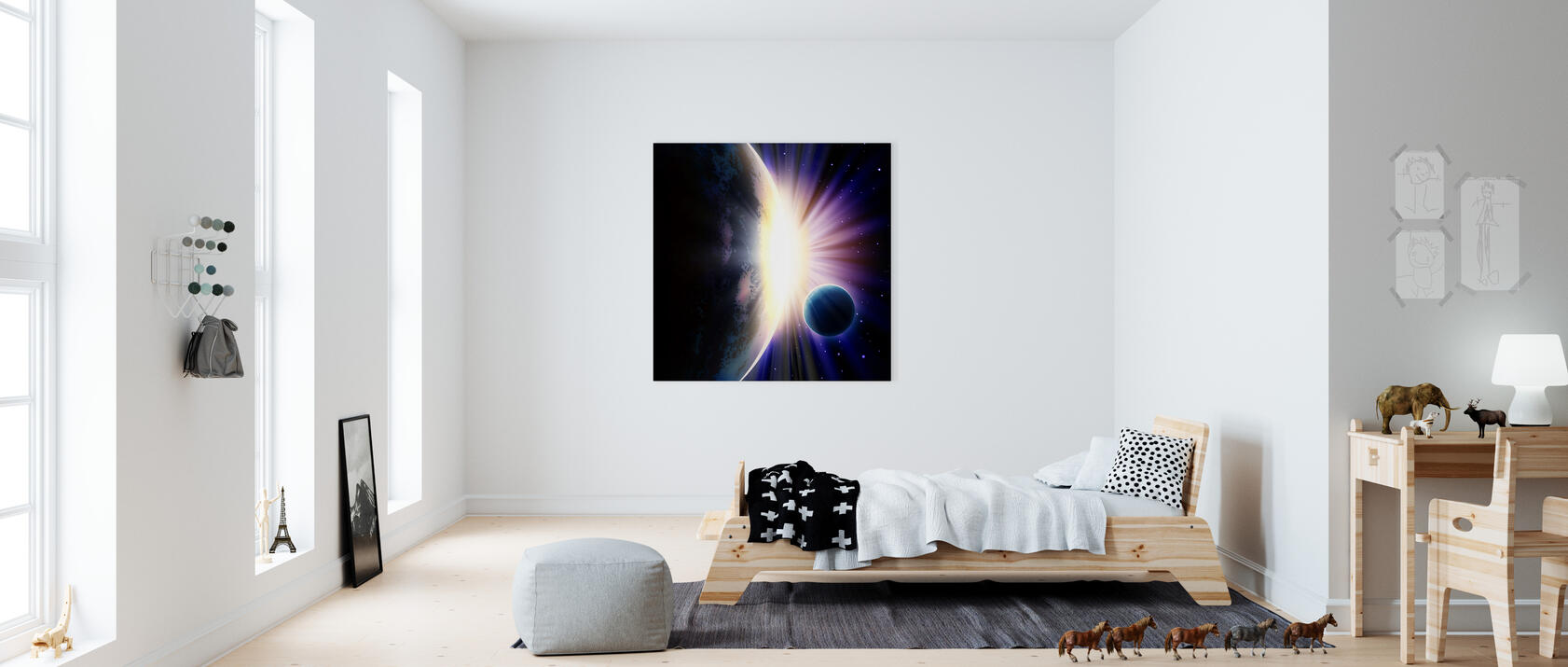 space sunrise impression sur toile en ligne pas cher photowall. Black Bedroom Furniture Sets. Home Design Ideas