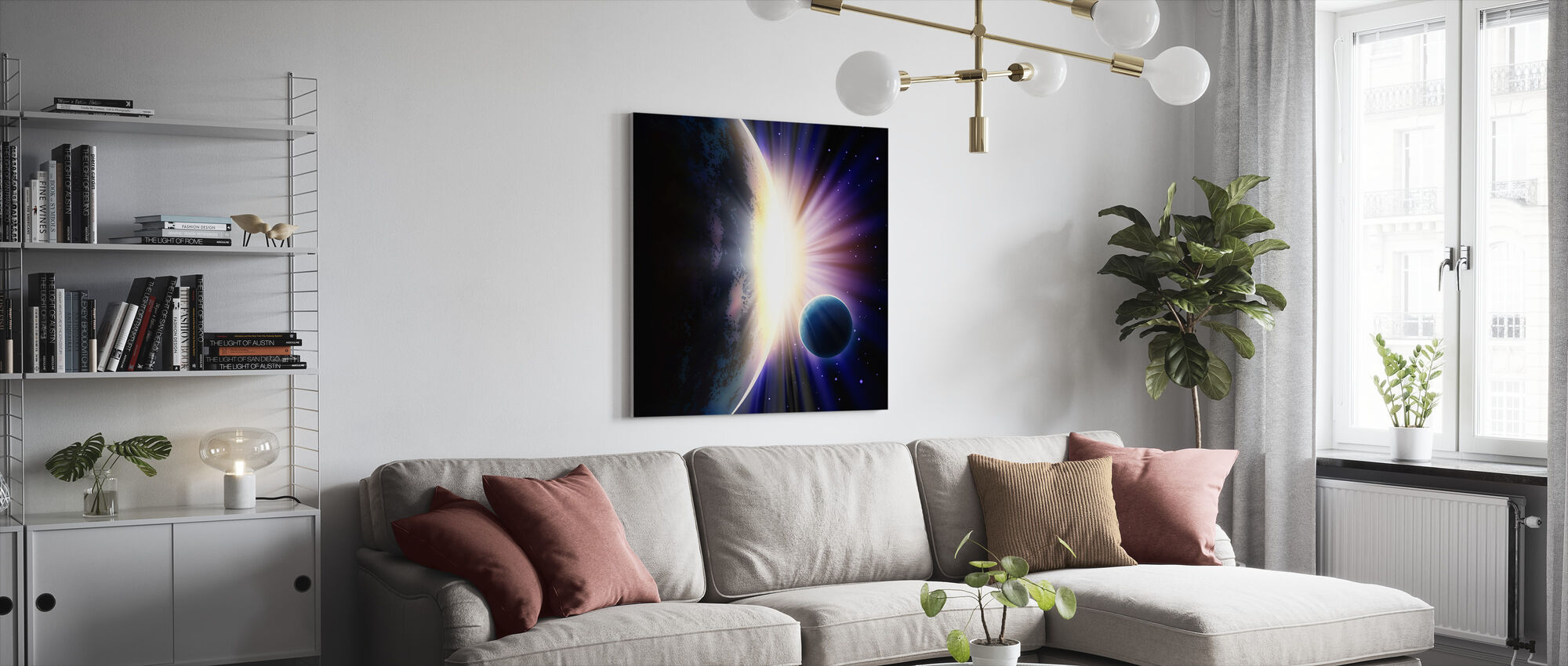 Space Sunrise - Canvas print - Living Room