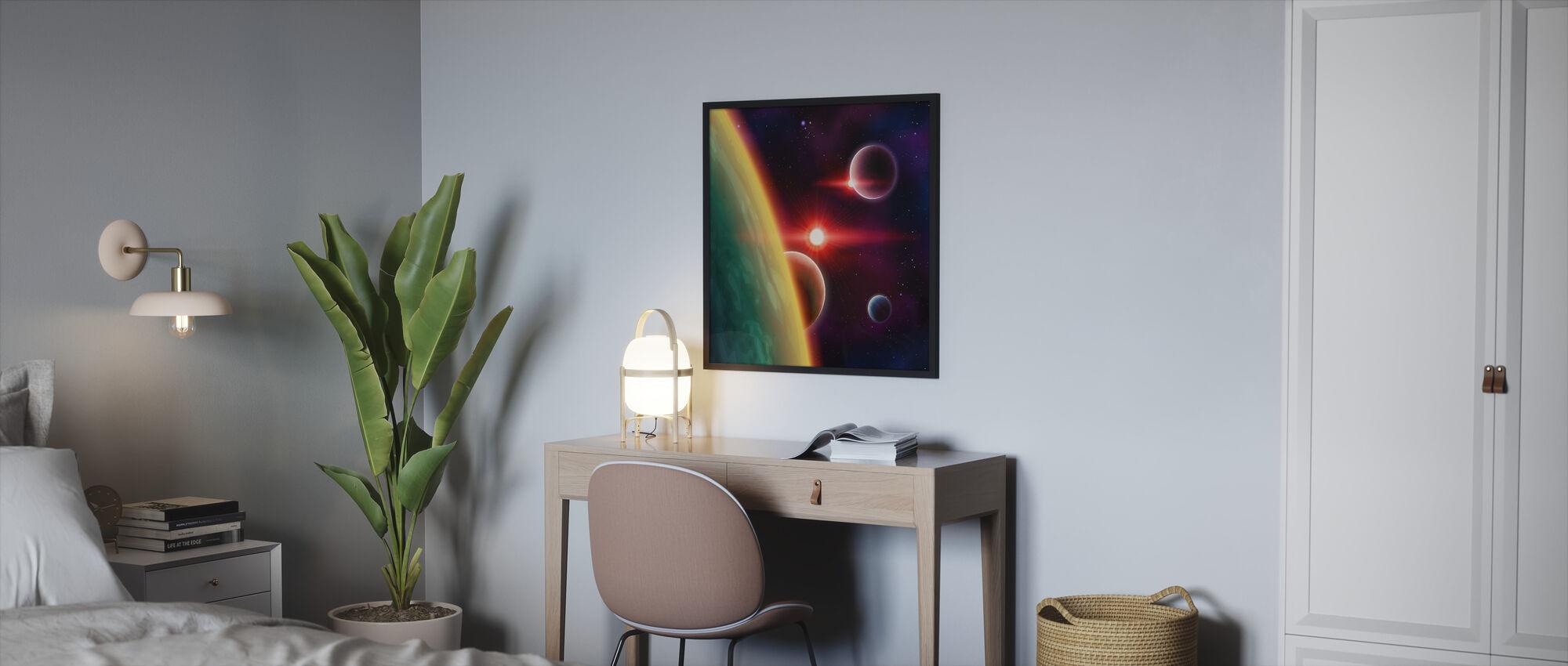 Galaksien väliset tilat - Kehystetty kuva - Makuuhuone
