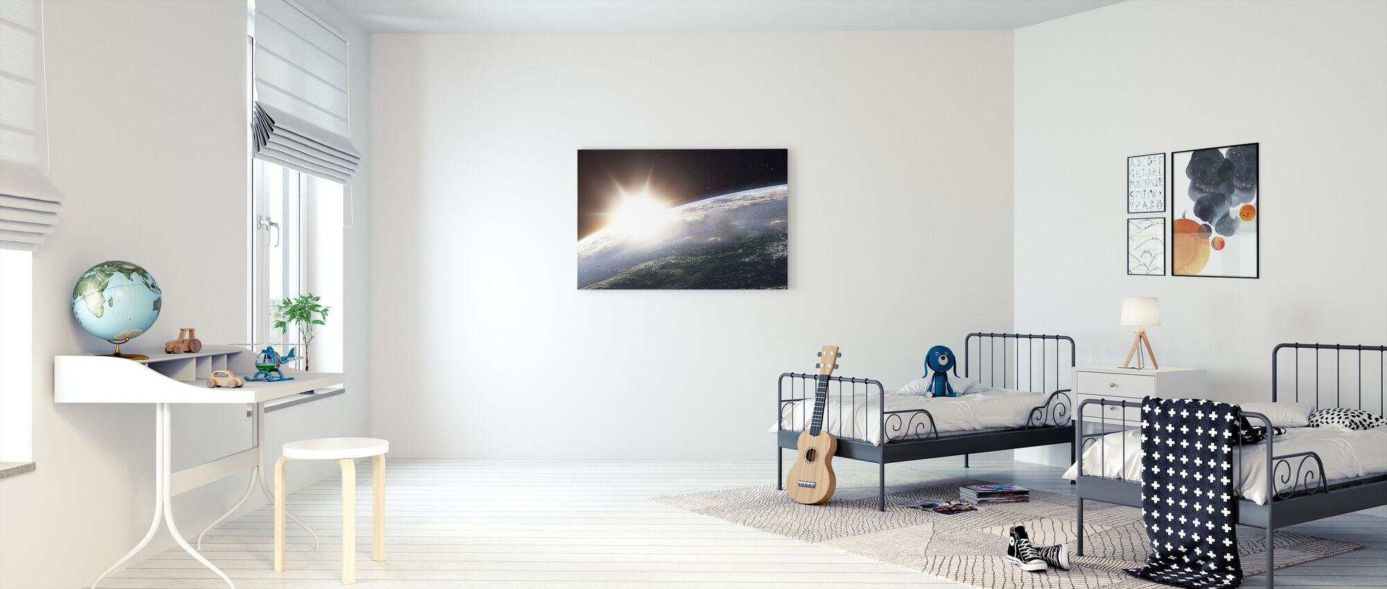 Sun over Earth - Canvas print - Kids Room