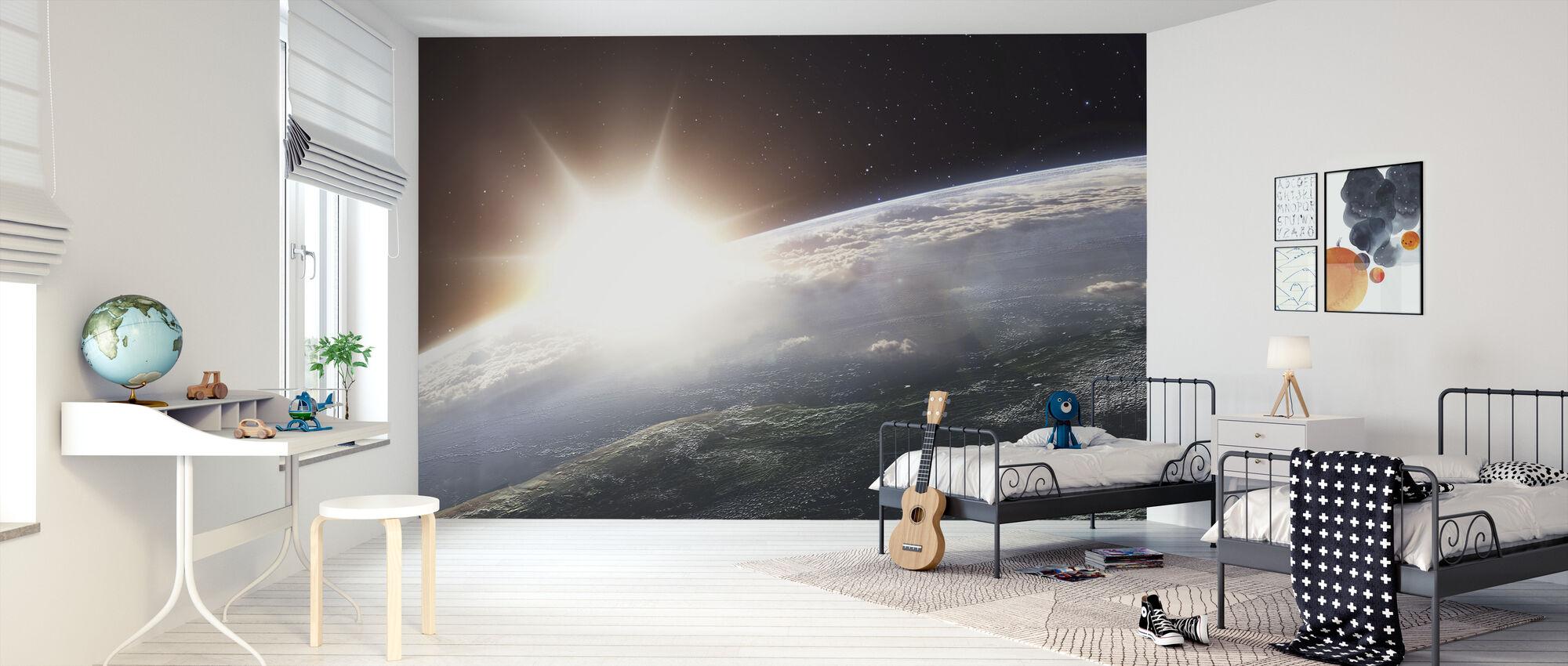 Sun over Earth - Wallpaper - Kids Room