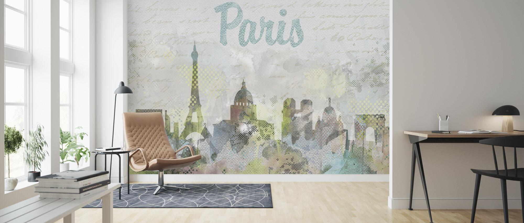 Watercolor Paris - Wallpaper - Living Room