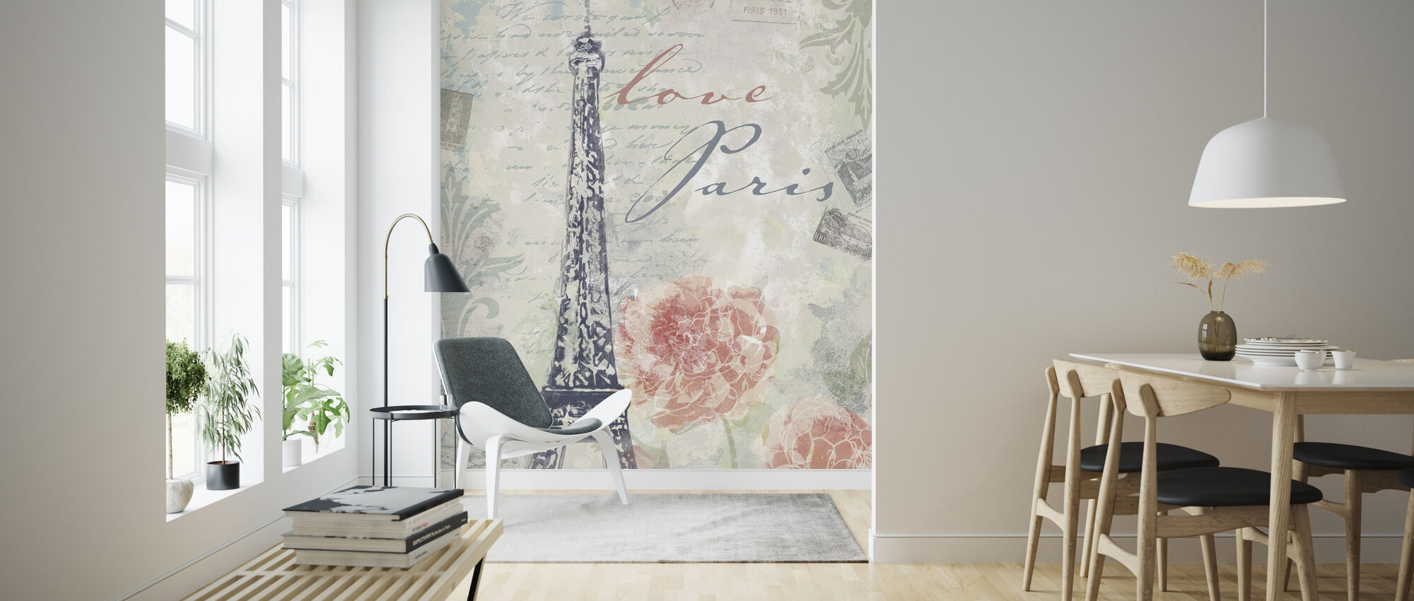 Love Paris - Wallpaper - Living Room