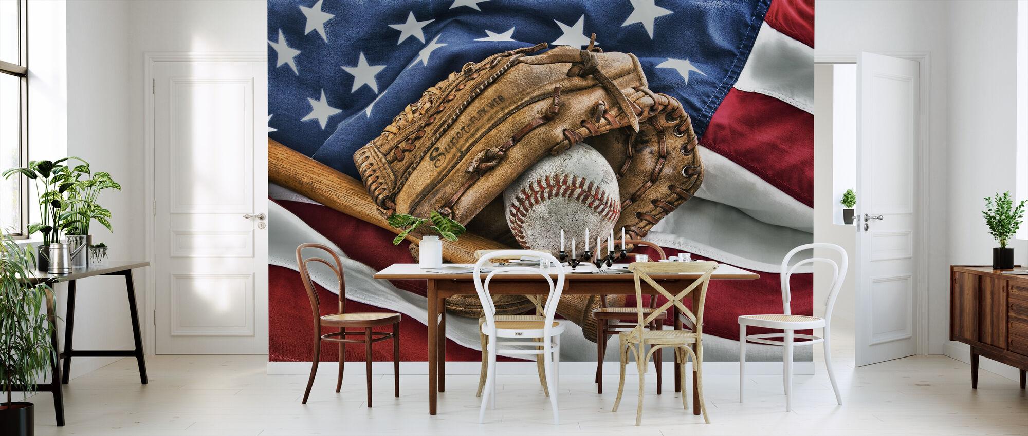 vintage baseball glove preiswerte fototapete photowall. Black Bedroom Furniture Sets. Home Design Ideas