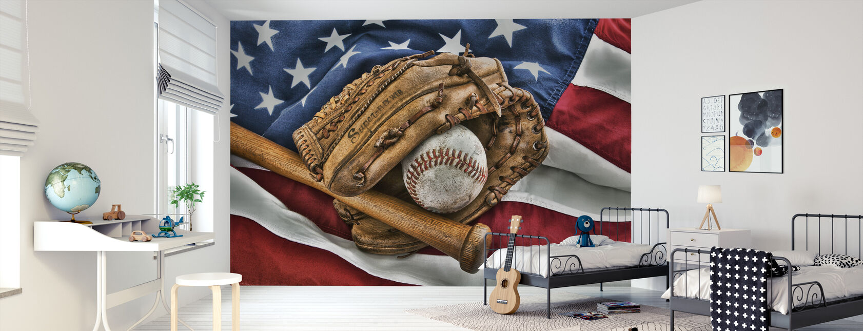 Vintage Baseball Glove - Wallpaper - Kids Room