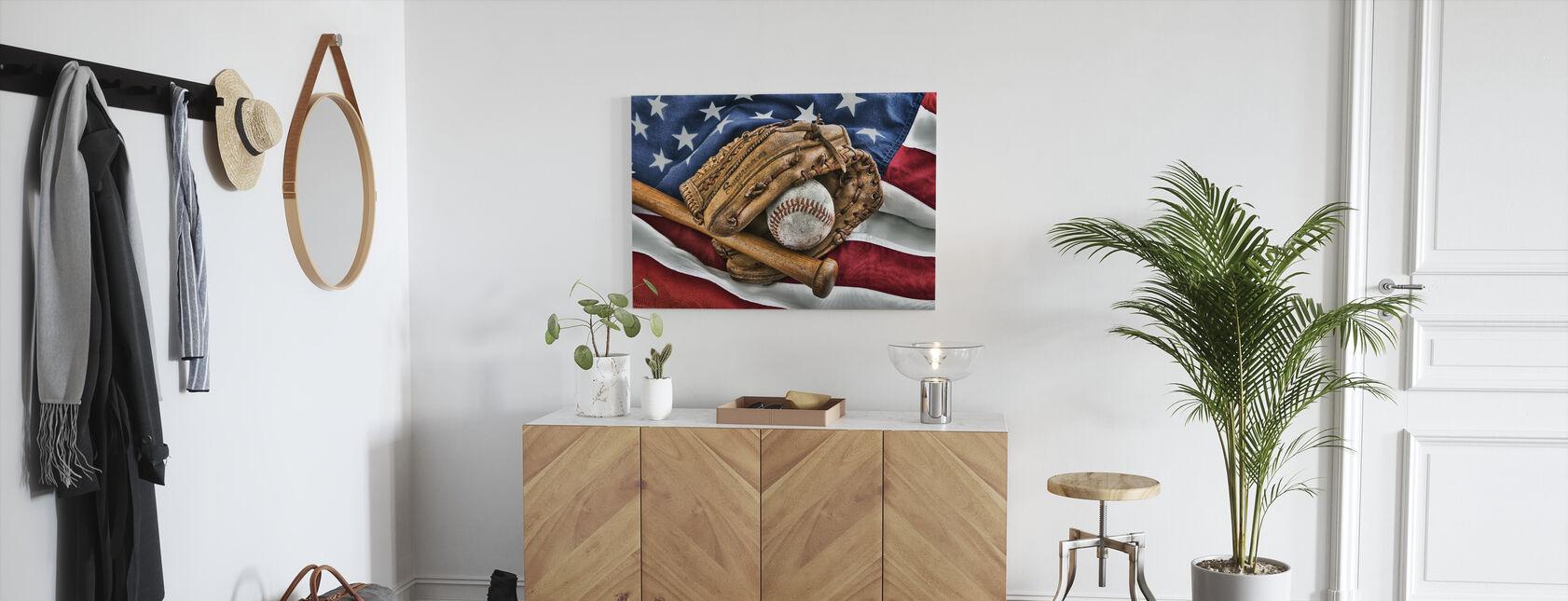 Vintage Baseball Handschoen - Canvas print - Gang