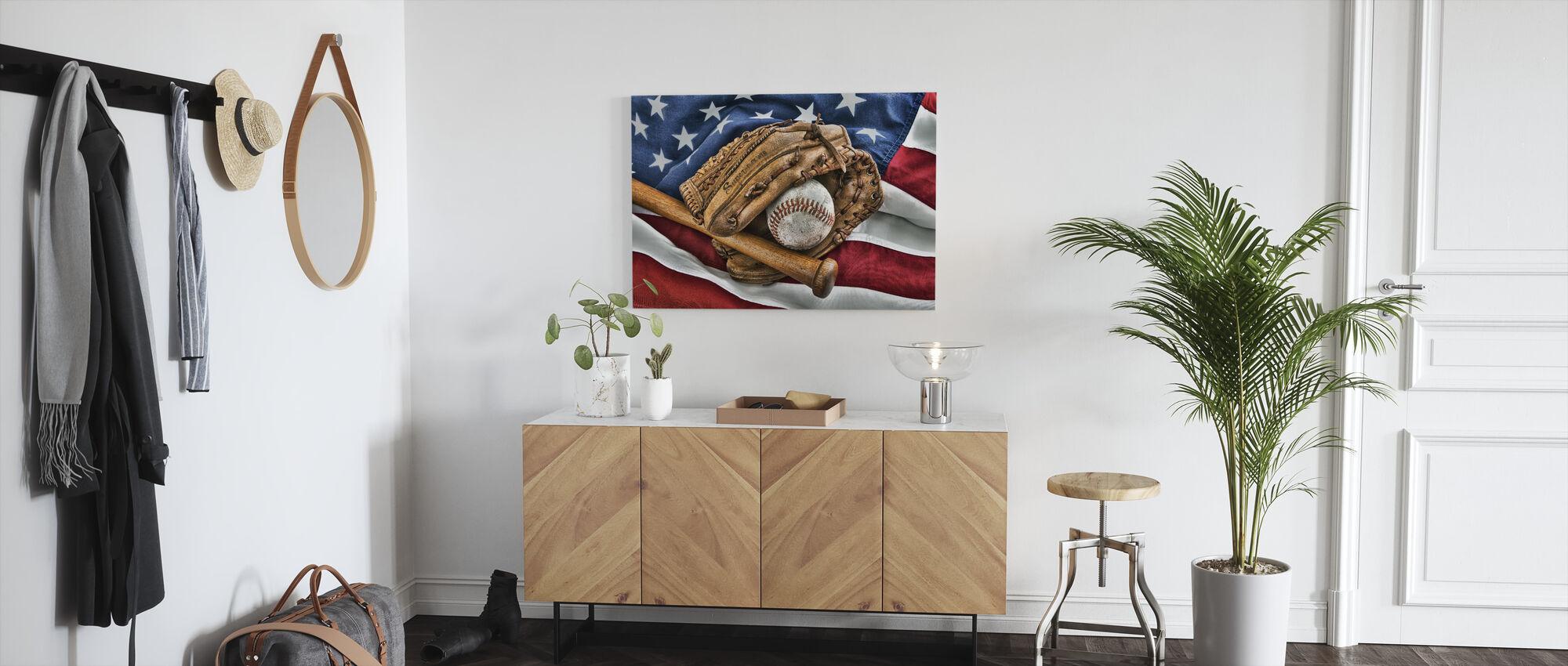 Vintage Baseball Glove - Canvas print - Hallway
