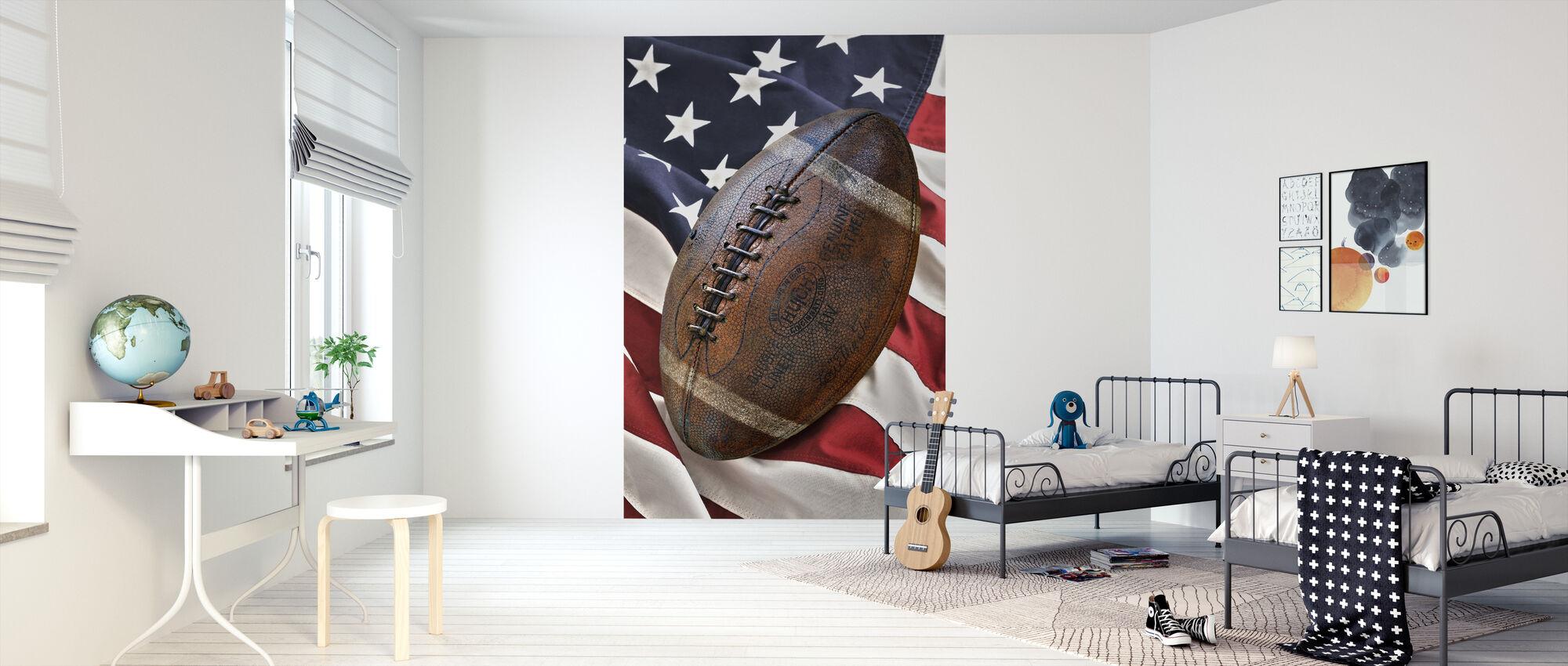 Vintage voetbal - Behang - Kinderkamer