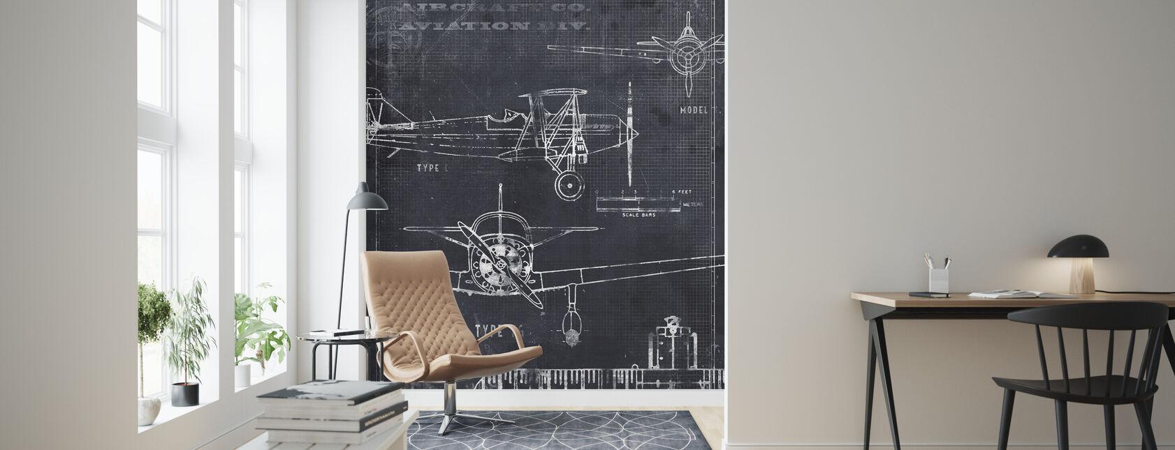 Airplane Blueprint - Black - Wallpaper - Living Room