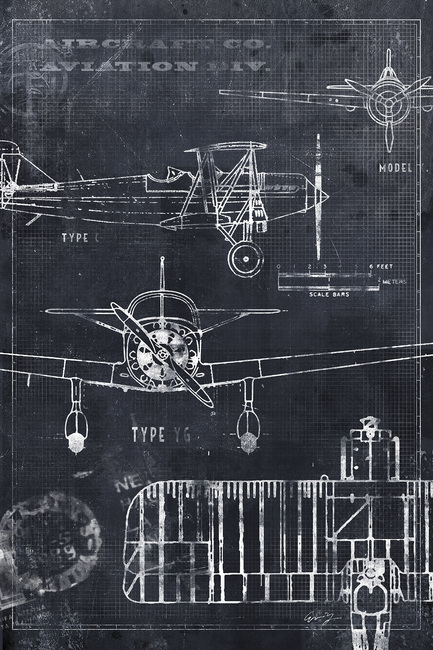 Airplane Blueprint - Black Fototapeter & Tapeter 100 x 100 cm