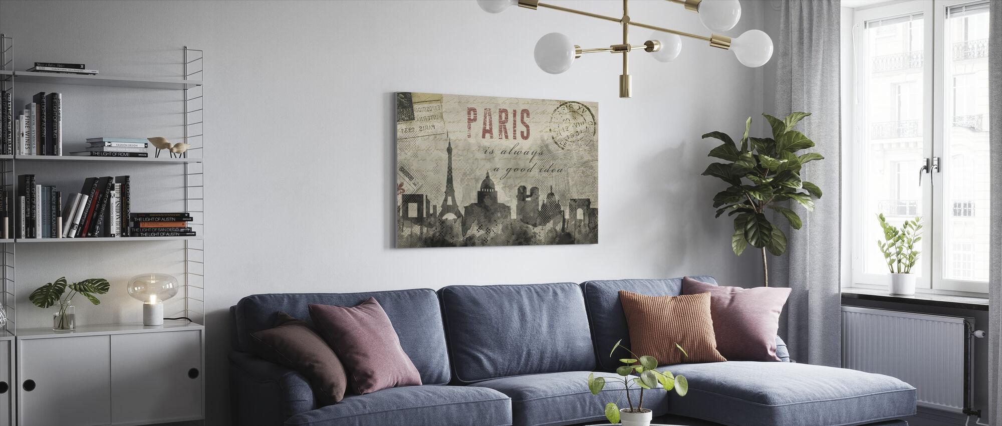 Akvarelli Pariisi - Canvastaulu - Olohuone