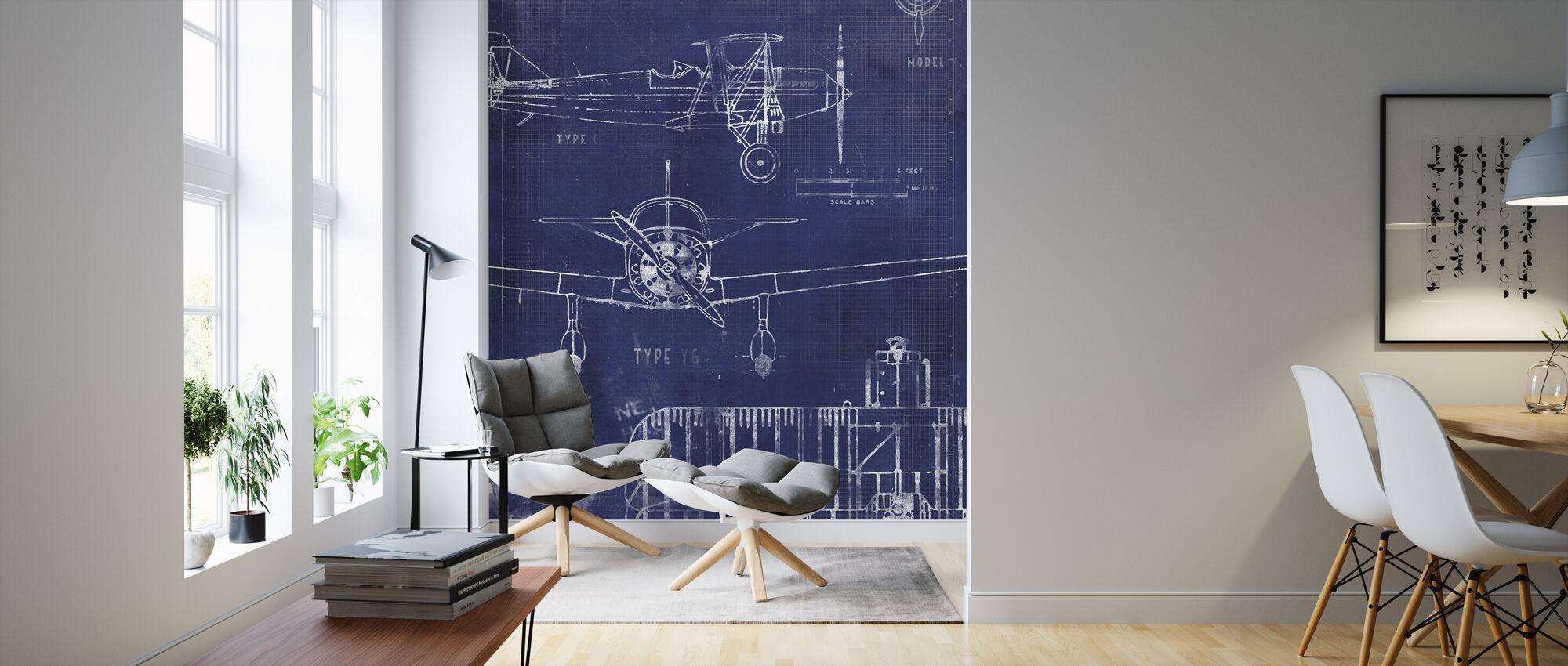 Airplane Blueprint - Wallpaper - Living Room