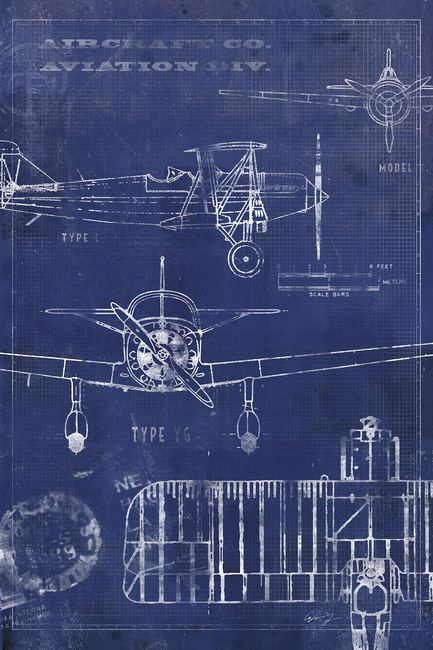 Airplane Blueprint Fototapeter & Tapeter 100 x 100 cm