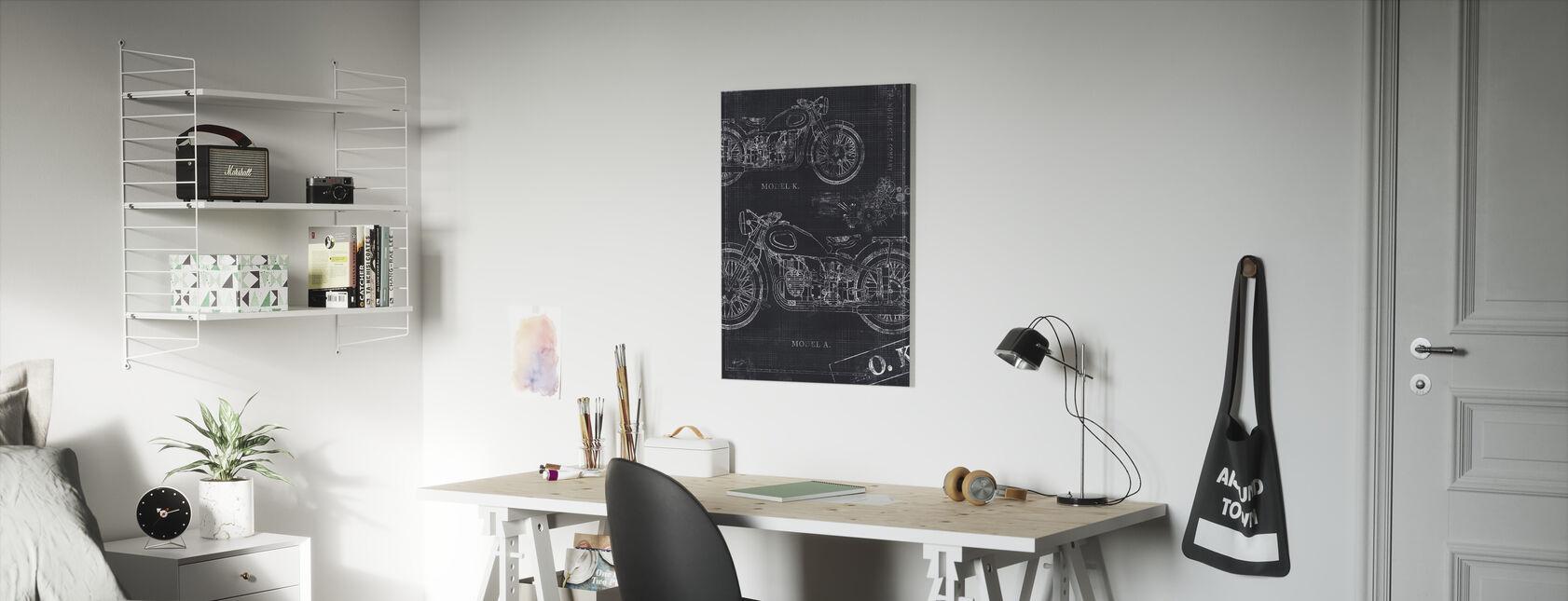 Motorfiets Blauwdruk - Grijs - Canvas print - Kinderkamer