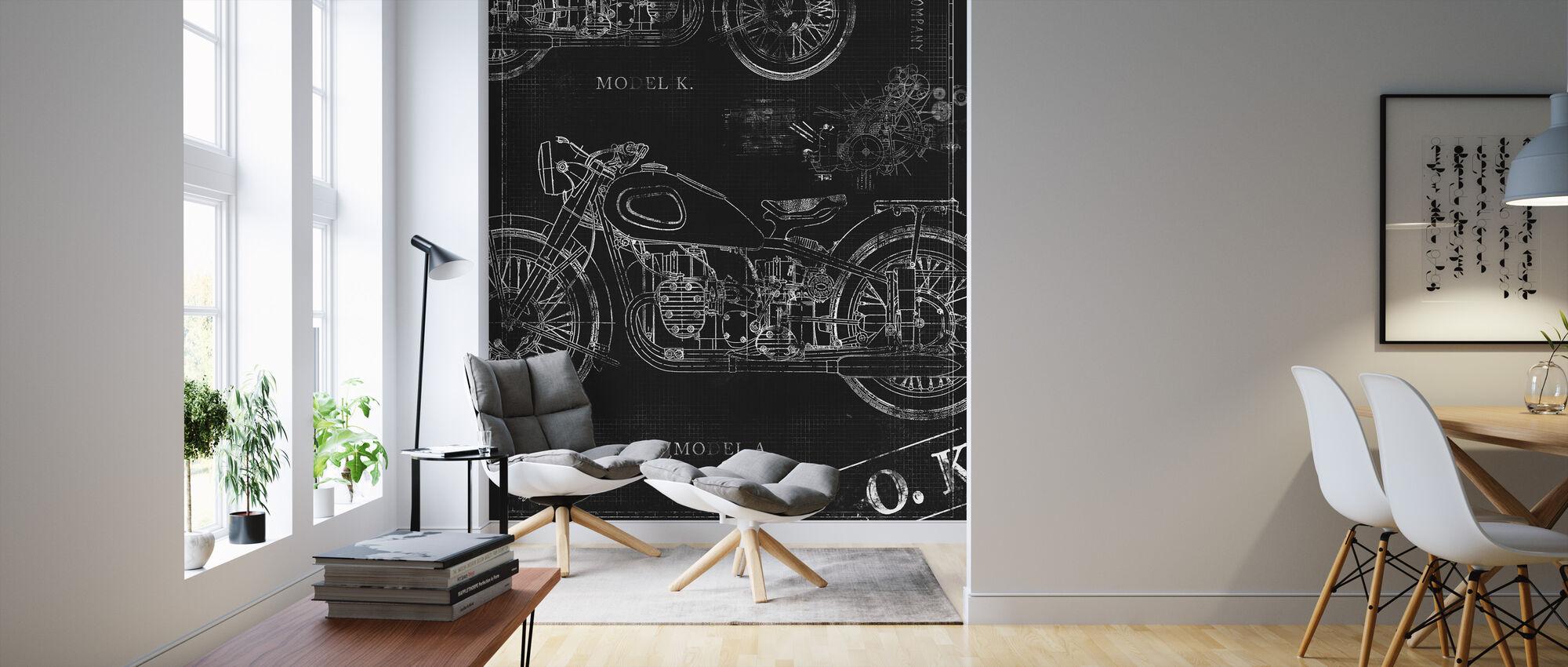 Motorcycle Blueprint - Black - Wallpaper - Living Room