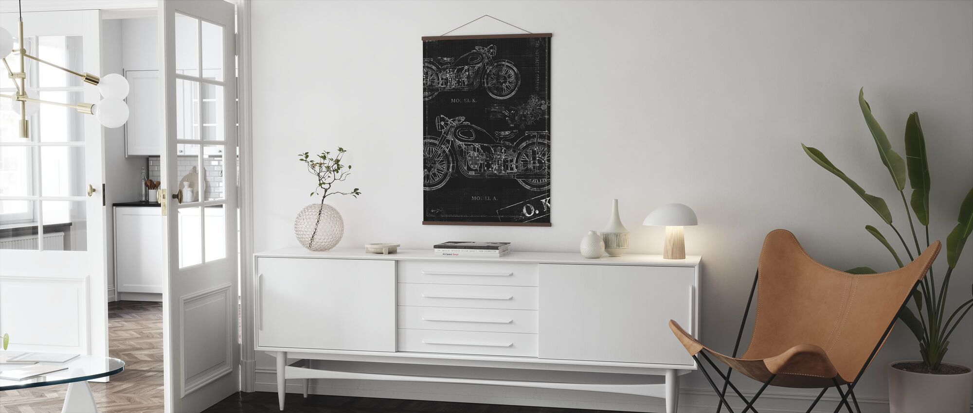 Motorcycle Blueprint - Black - Poster - Living Room