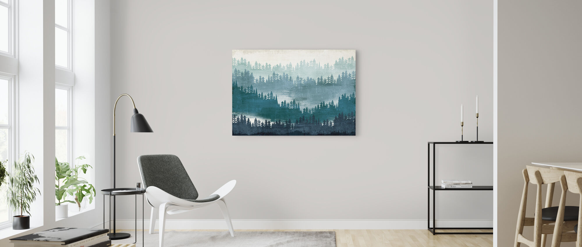 Mountainscape Blauw - Canvas print - Woonkamer