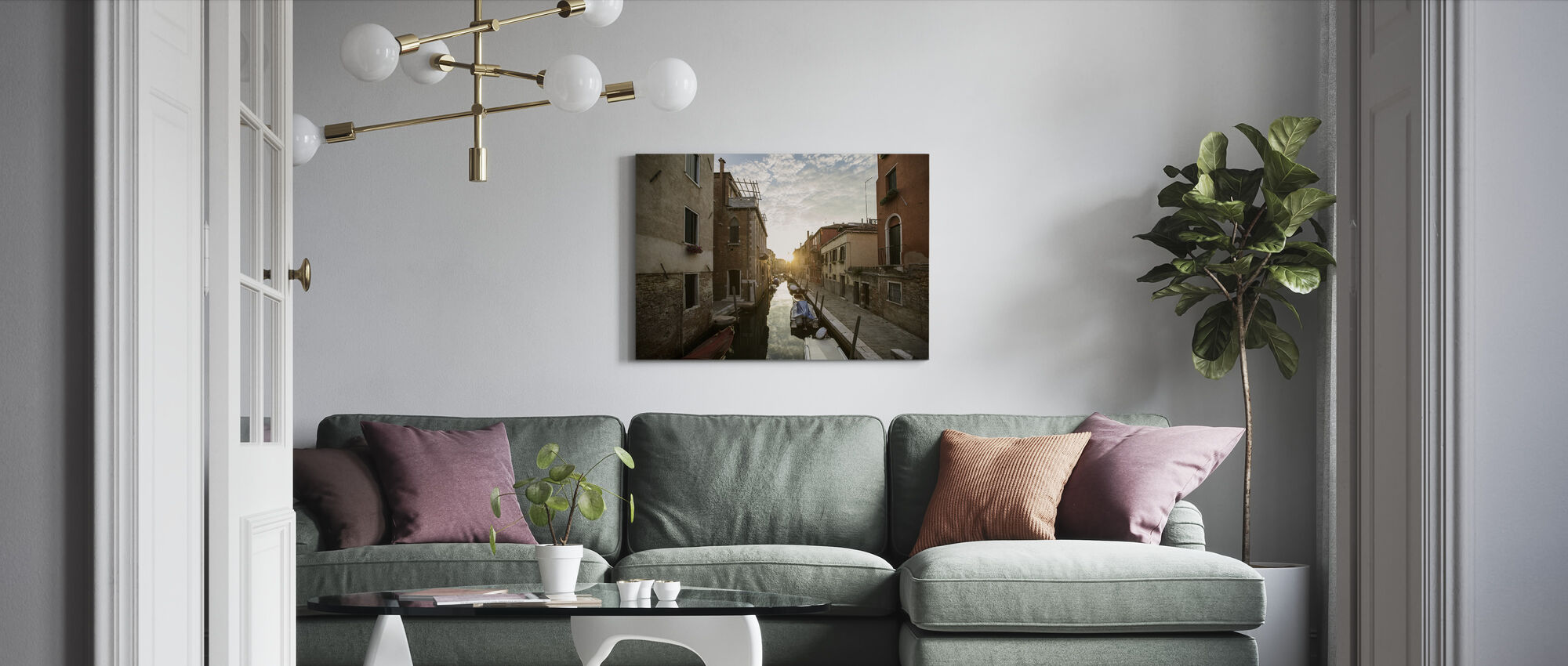 Gondol i Venedig - Billede på lærred - Stue