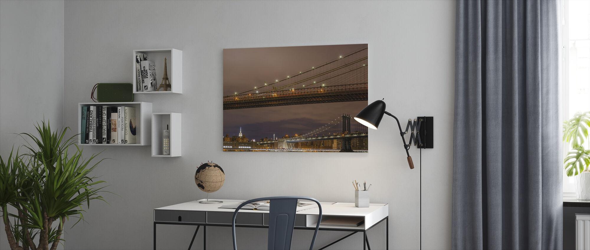 Sluiten van Brookyln Bridge - Canvas print - Kantoor
