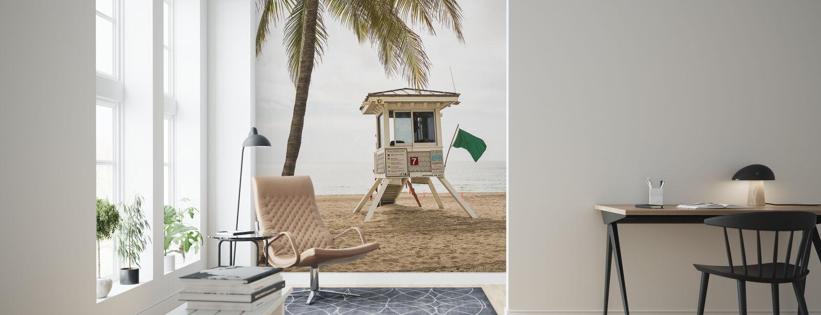 Grön flagga på Florida Beach - Tapet - Vardagsrum