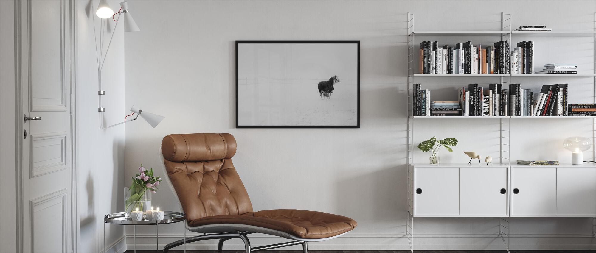 Horse in Snowstorm - Framed print - Living Room