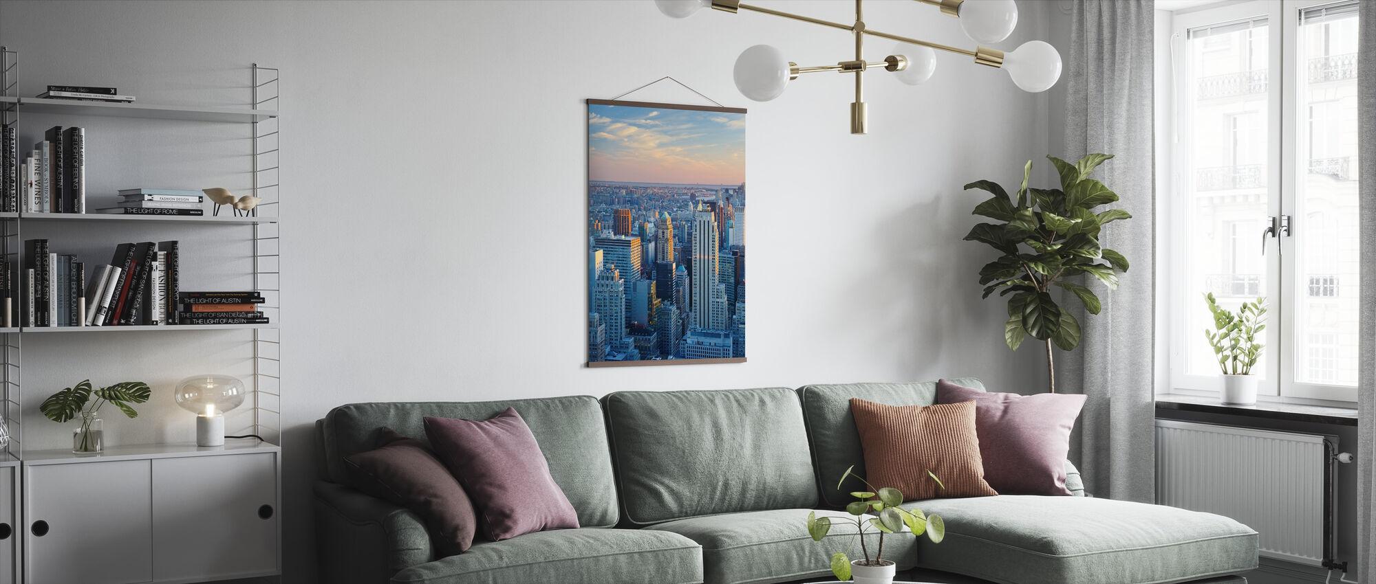 Manhattan in blauw licht - Poster - Woonkamer