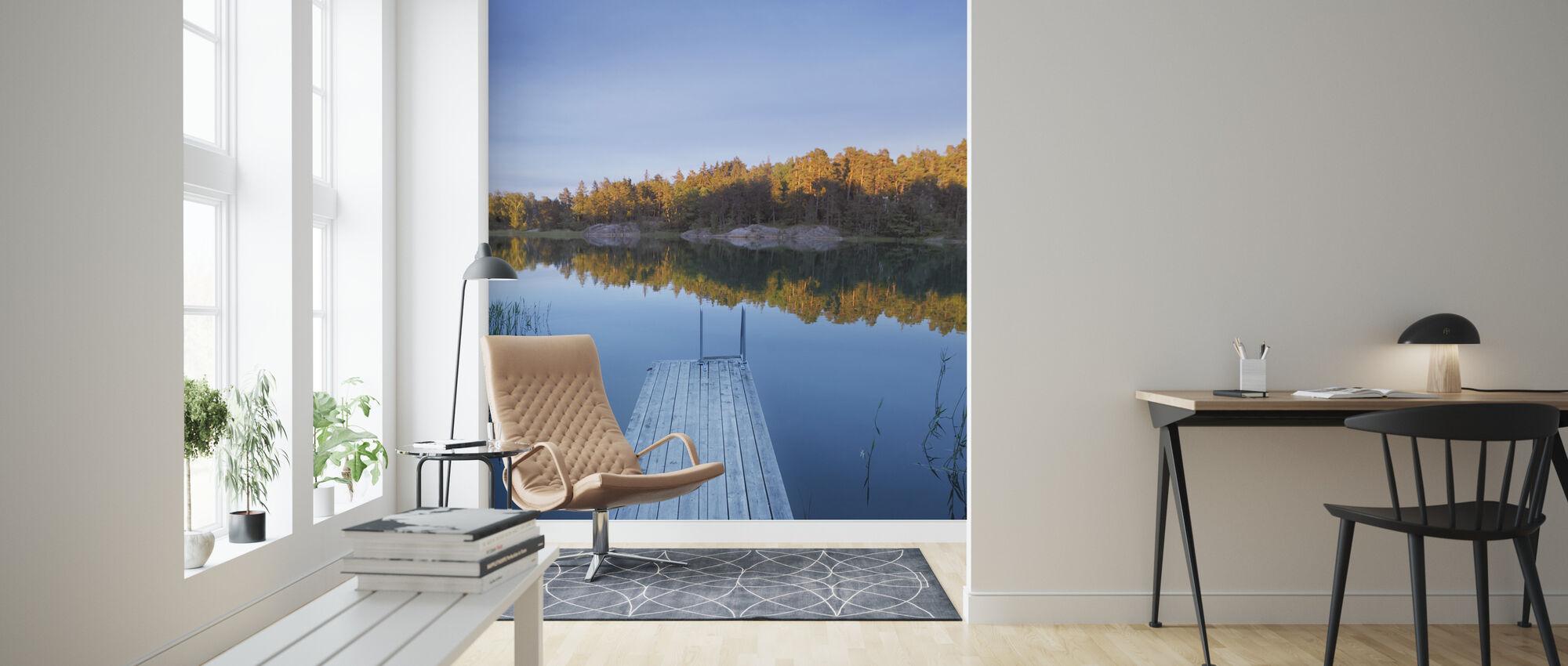 Wooden Pier in Shadow - Wallpaper - Living Room