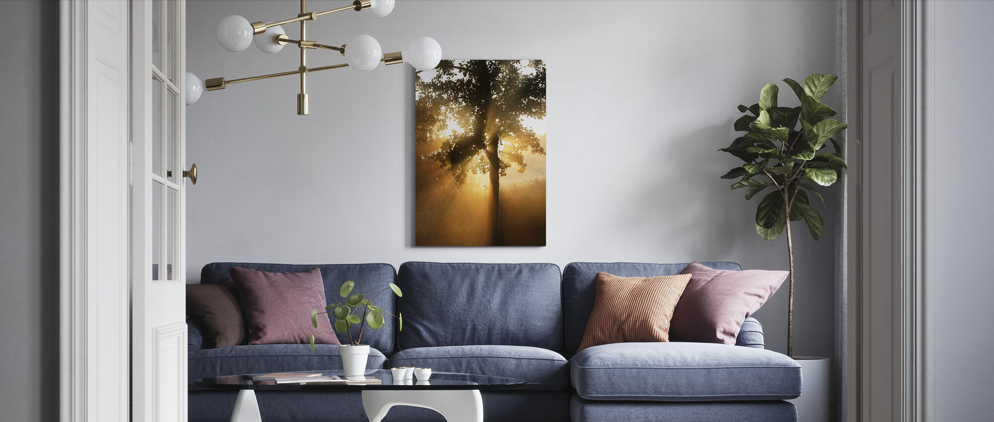 Morning Sunbeam through Leaves - Canvas print - Living Room