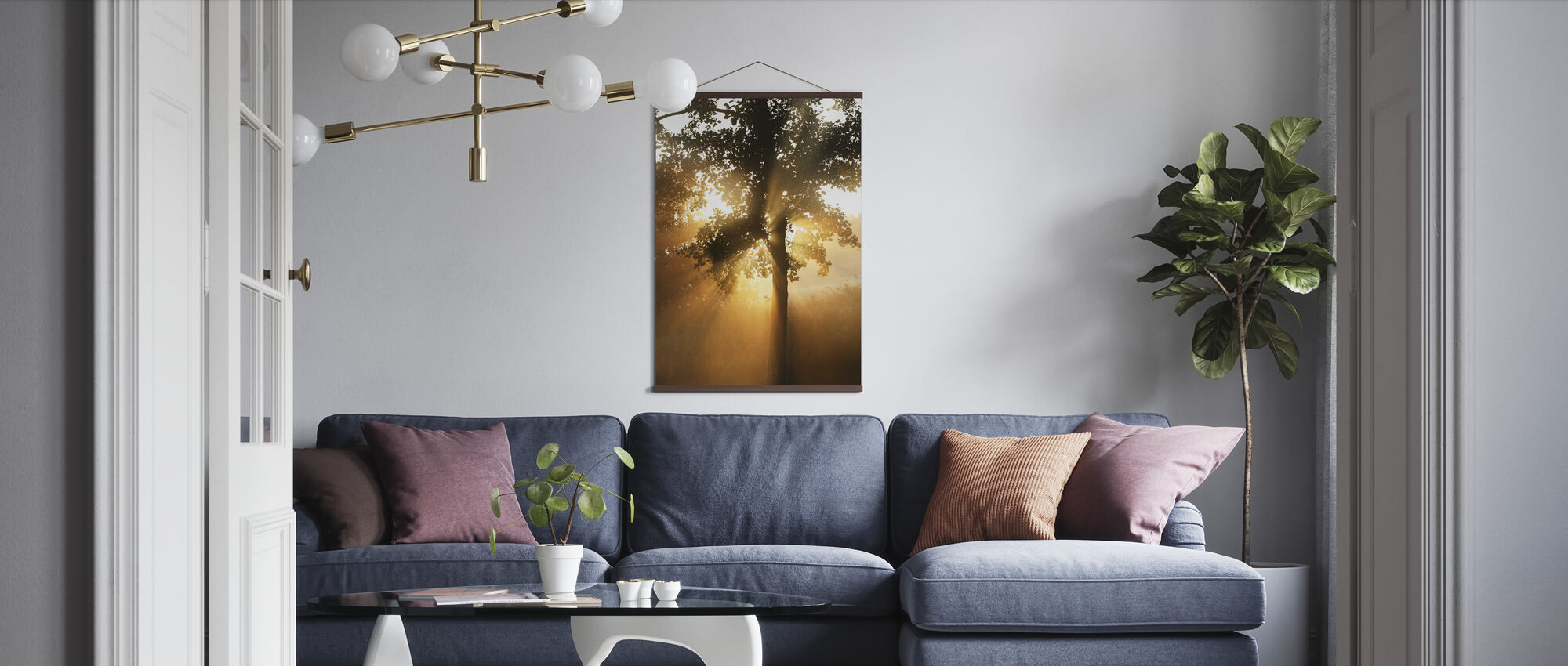 Morning Sunbeam through Leaves - Poster - Living Room