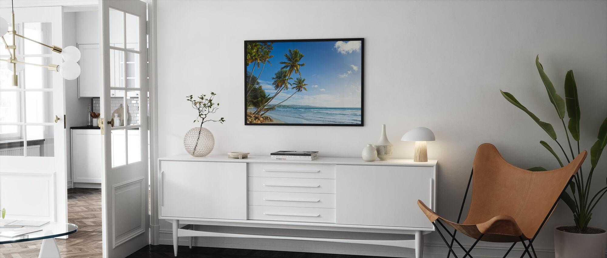 Palmen en strand, Trinidad en Tobago - Ingelijste print - Woonkamer