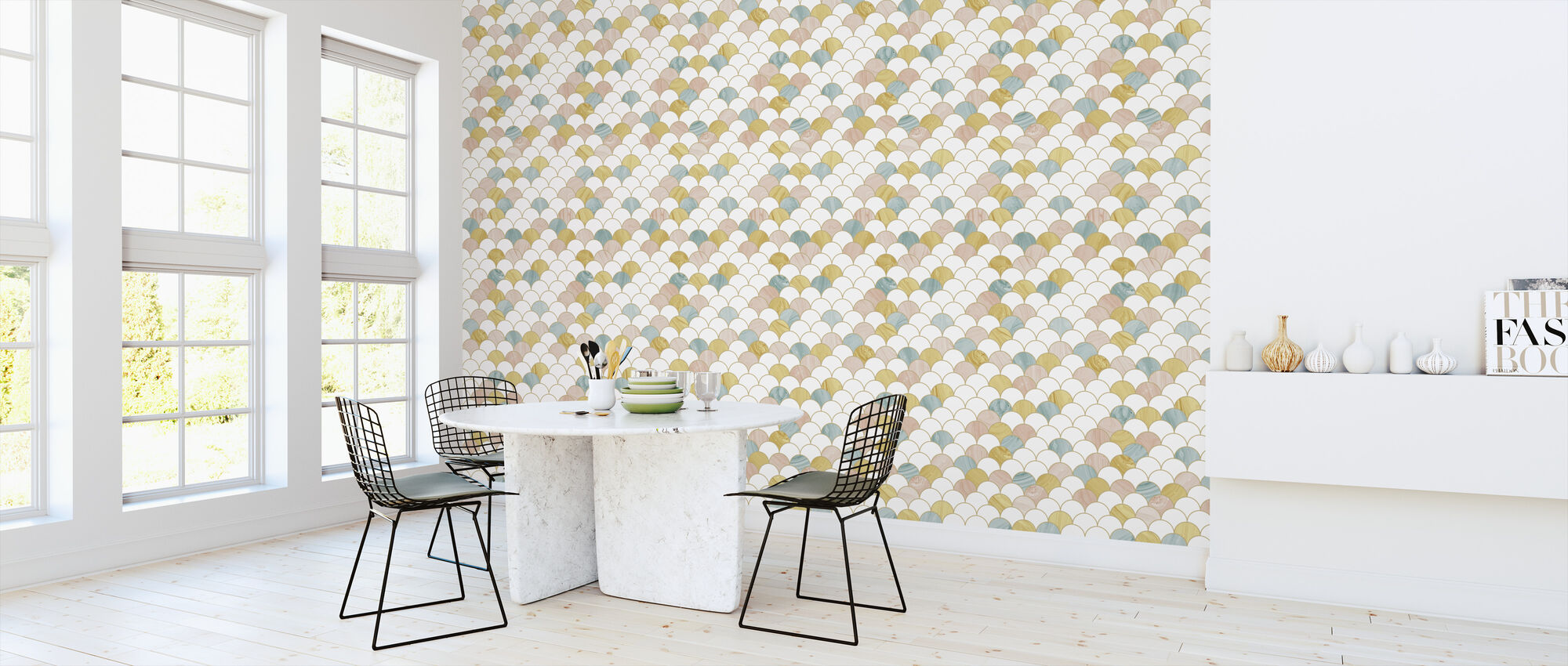 Feathers Yellow - Wallpaper - Kitchen