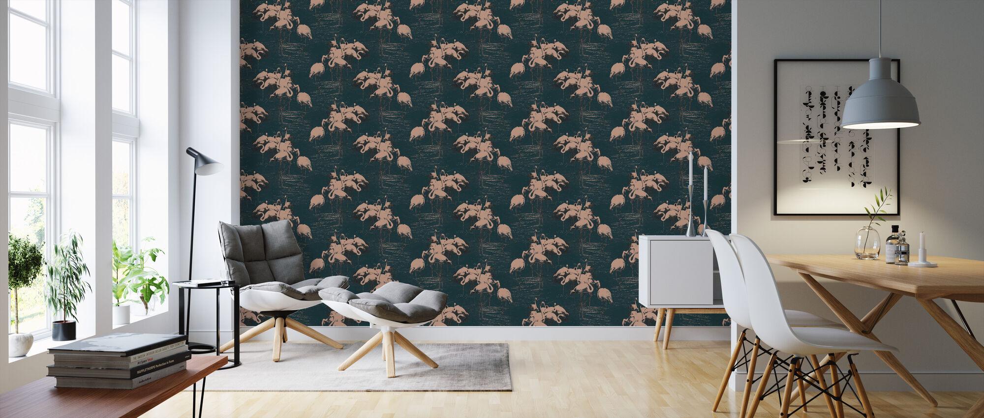 Flamingo Pink - Wallpaper - Living Room