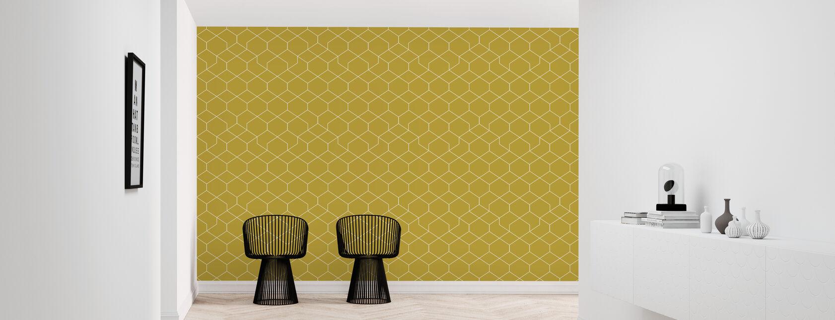 Honeycomb Yellow - Wallpaper - Hallway