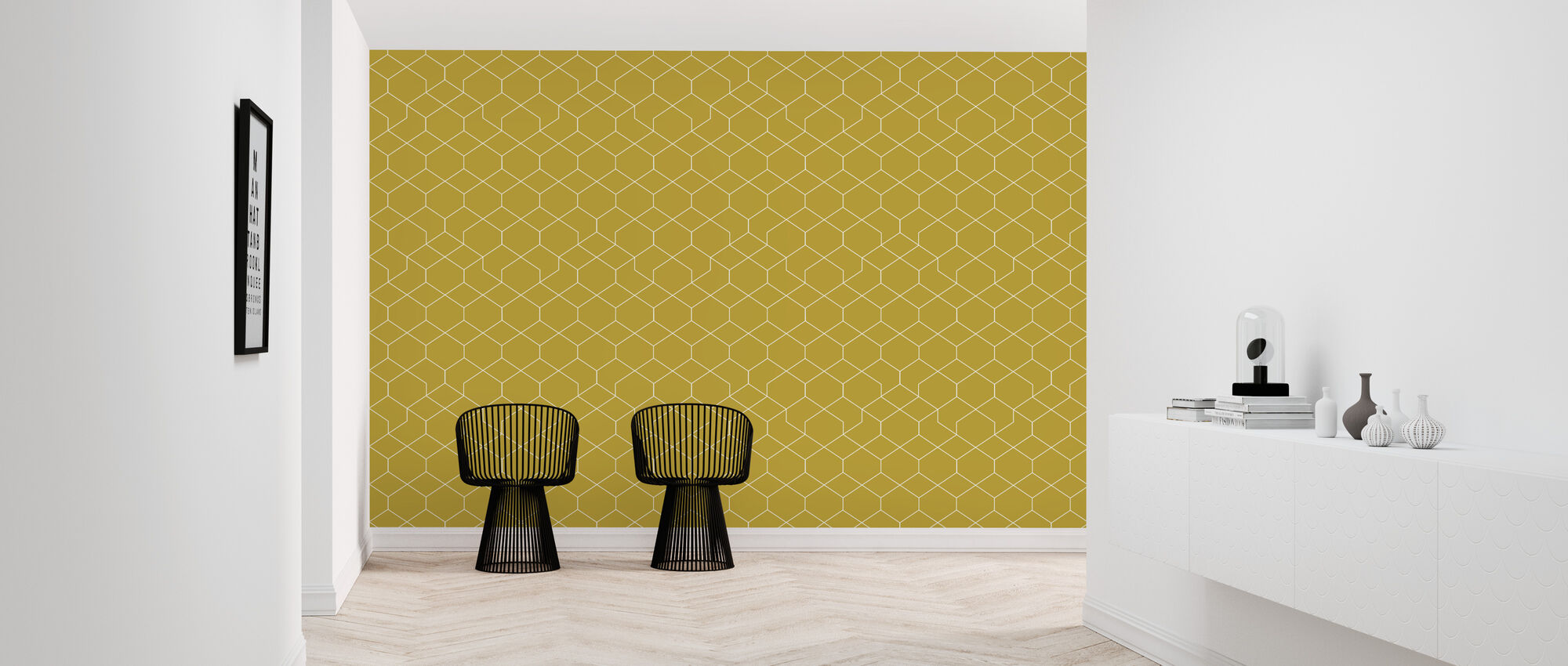 Honeycomb Yellow - Wallpaper - Hallway