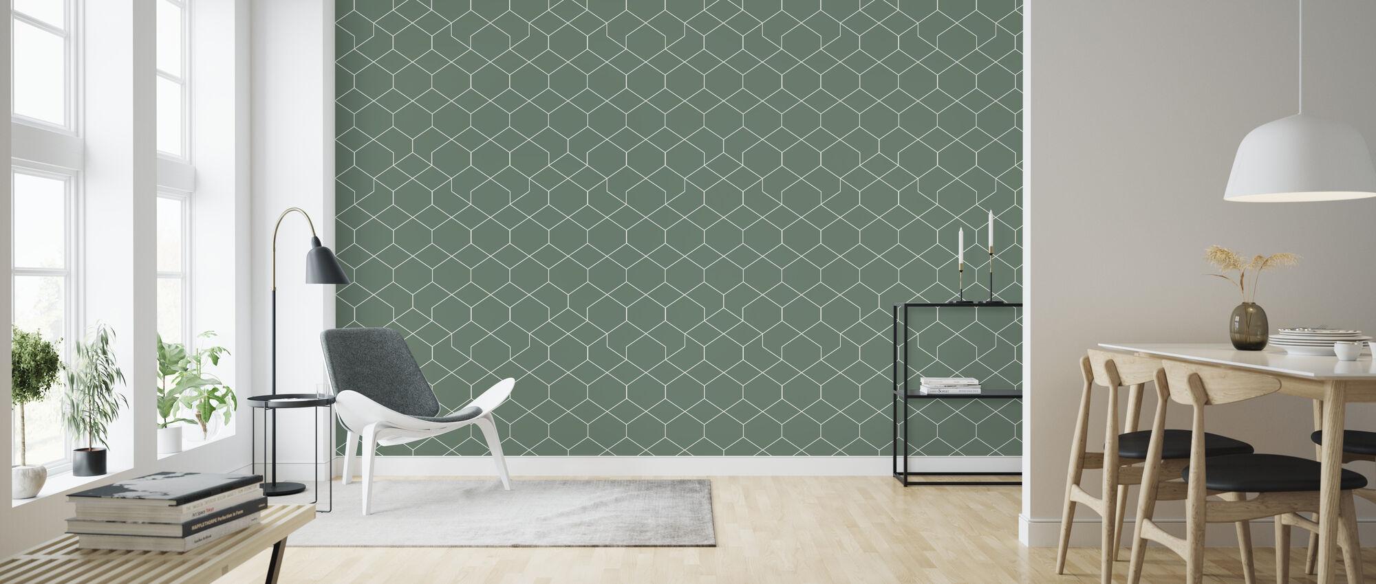 Honeycomb Green - Wallpaper - Living Room