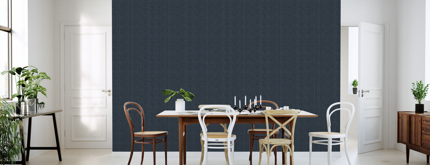 Linen Dark Blue - Wallpaper - Kitchen