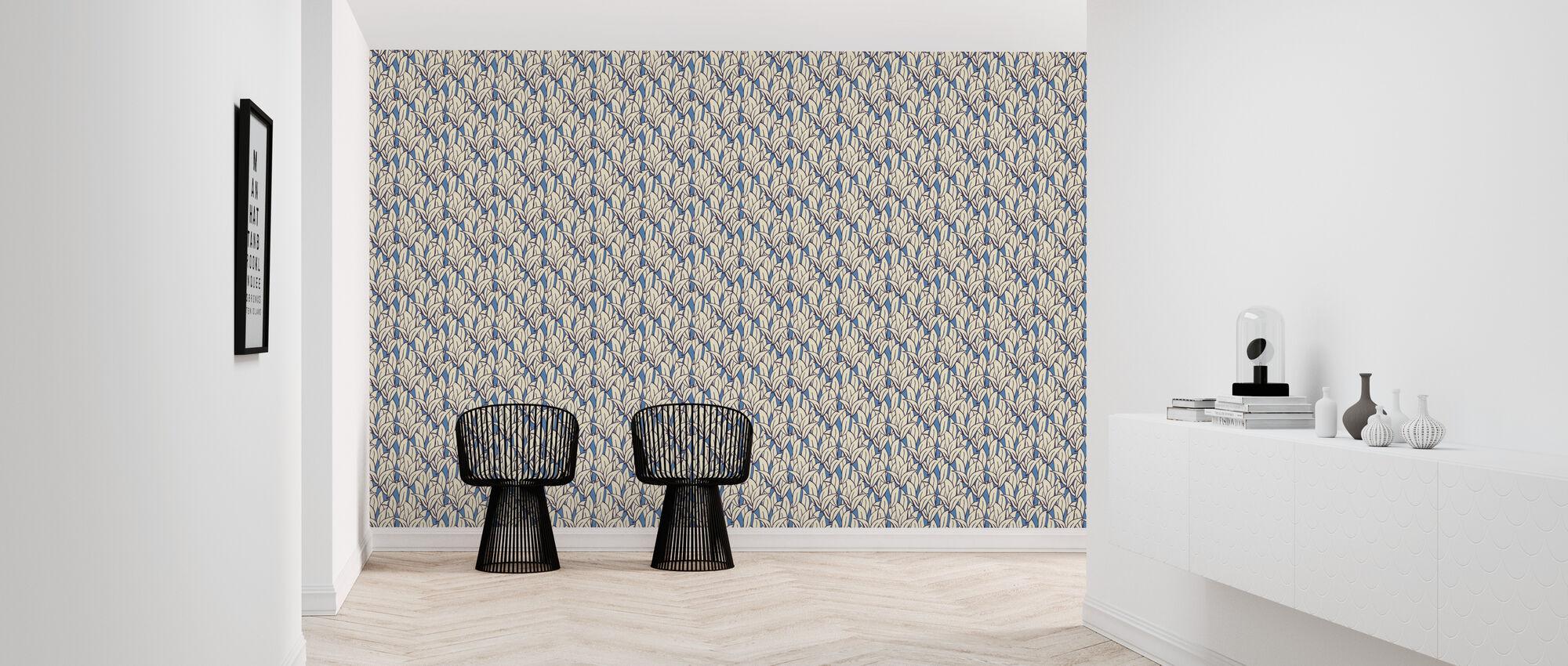 Mostly Leafs Blue - Wallpaper - Hallway