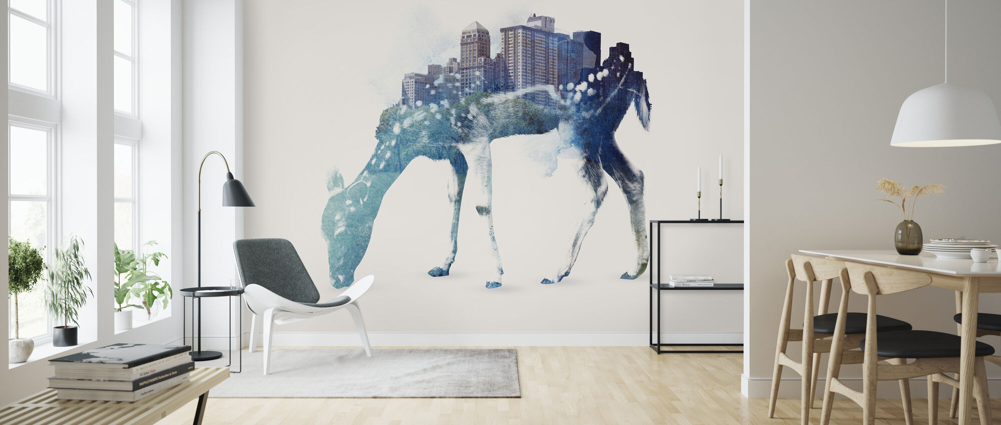 City Deer - Wallpaper - Living Room